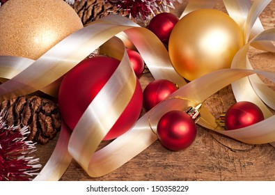 Multicolor Christmas decoration - ball, ribbons, toys.
