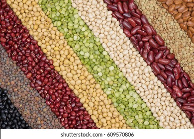 Multicolor dired legumes for diagonal background, Different dry bean for eating healthy