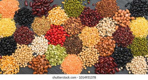 Multicolor dried legumes for background, Different dry bean organic for eating healthy