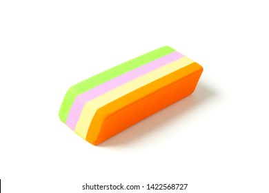 Multicolor eraser isolated on white background, closeup