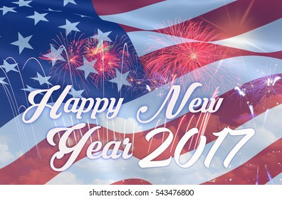 Multicolor Fireworks Celebrate over the United state of America USA flag background. Happy new year 2017.