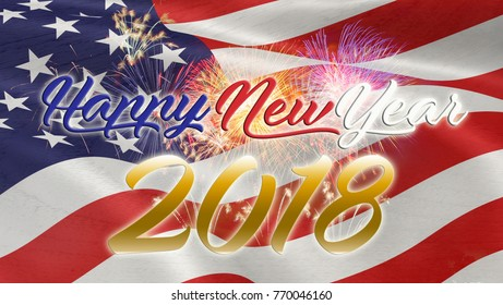 Multicolor Fireworks Celebrate over the United state of America USA flag background. Happy new year 2018.