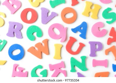 multicolor foam letters to be used as education or learning background