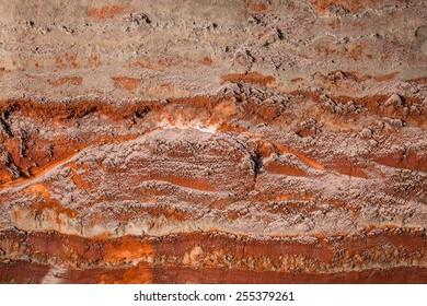 multicolor fragment of wall in potassium salt mine