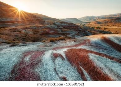 Multicolor geological formations neaw  Xizi town in Azerbaijan.