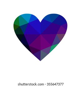 Multicolor heart isolated on white background. Geometric rumpled triangular low poly origami style gradient graphic illustration. Raster polygonal design for your business.