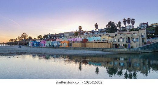 Multi-color Homes on Hillside Overlooking Soquel Cove, Pacific Ocean - Capitola, CA.