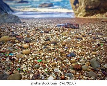 Multicolor Pebbles on Beach