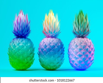 Multicolor pineapples on blue background 3D rendering