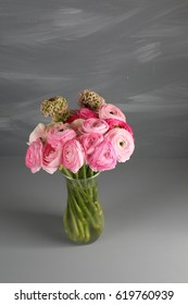 Multicolor pink buttercup, Ranunculus in the glass vase on the gray background