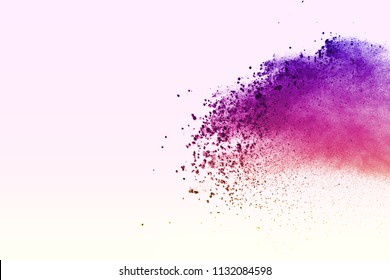 Multicolor powder explosion on white background. violet and pink cloud. Colorful dust explode. Paint Holi.
