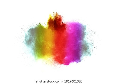 Multicolor powder explosion on white background.