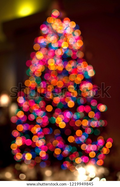 Multicolor Rainbow Unfocused Christmas Tree Lights Stock Photo Edit