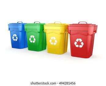 Multicolor Recycling Bins, 3D illustration