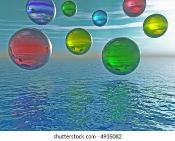 Multicolor rising balls from sea surface - 3d illustration.
