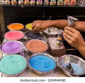 Multicolor sand for handmade souvenirs in Dubai, UAE