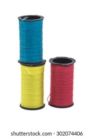 Multicolor sewing threads with isolated white background