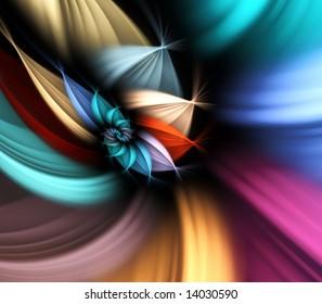Multicolor, spiraling flower petals effect - fractal abstract background