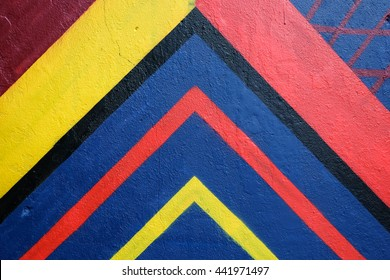 Multicolor spray painted concrete wall