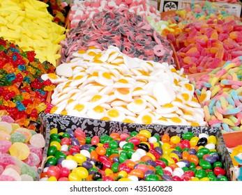 Multicolor sweets on bazaar in Tel Aviv, Israel