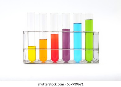 Multicolor test tube on isolate background.