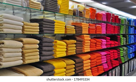 Multicolor towels in the shop