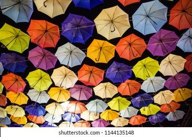 multicolor umbrellas decoration, Odessa, Ukraine, night sky