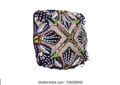 Multicolor Uzbek skullcap of beads, with flower pattern. Tashkent, Uzbekistan.