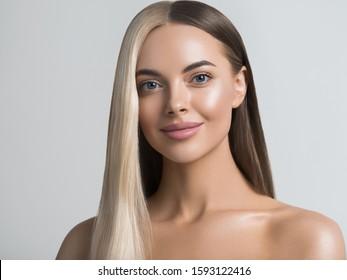 Multicolor woman hair blond brunette hairstyle half head color