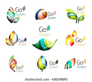 Multicolored abstract leaves in nature concept logo set. illustration