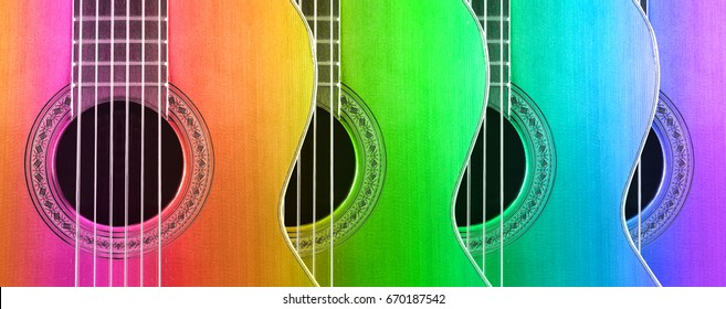 Multicolored acoustic and spanish guitar. Musical instrument background