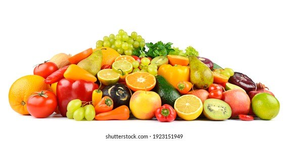 Multi-colored and appetizing fruits and vegetables useful for health isolated on white background.