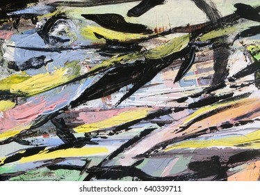 Multicolored background. Texture painting. Abstract art background. Acrylic on canvas. Rough brushstrokes of paint.