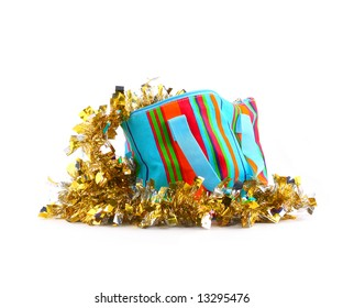 multicolored bag with golden garland
