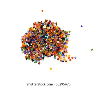 Multicolored beads forming the letter a