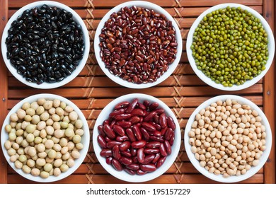 Multicolored beans in ceramics bowl