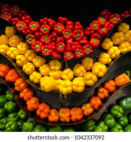 Multicolored Bell Peppers On Display