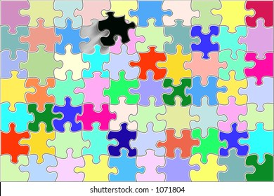 multicolored blank puzzle with one black piece being fitted in