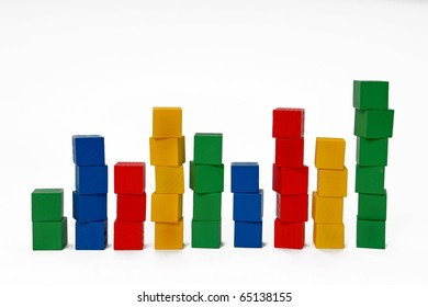 Multicolored blocks stacked into columns