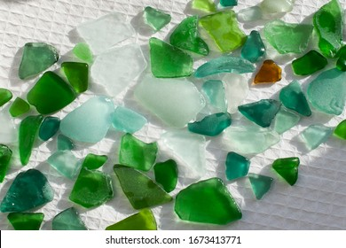 multi-colored broken glass from the beach