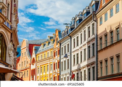 Multicolored building facade in city old town in perspective view, Riga, Latvia