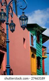 Multicolored buildings located in La Boca, Buenos Aires, Argentina