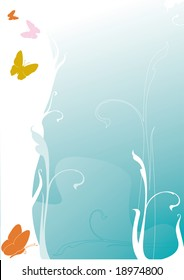 multicolored butterflies in front of a turquoise background