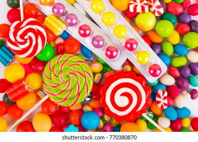 Multicolored candy background