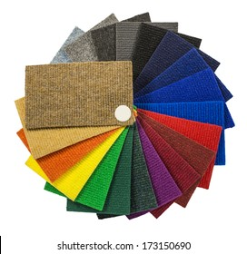 Multi-colored carpeting samples in the form of a fan isolated on white background