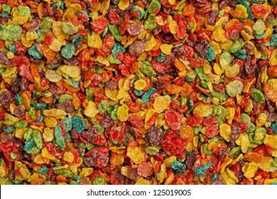Multicolored cereal closeup.