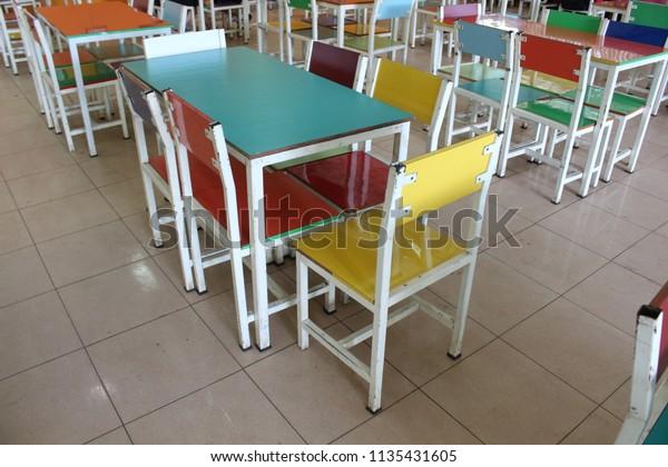 Miraculous Multicolored Chairs Dining Tables Primary Schools Stock Creativecarmelina Interior Chair Design Creativecarmelinacom