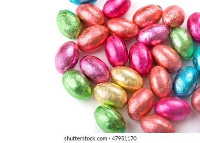 Multicolored chocolate mini eggs