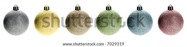 Multicolored Christmas ornaments line