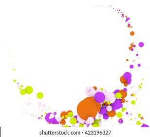 Multicolored circles. Isolated on white background, include clipping path. 3d illustration